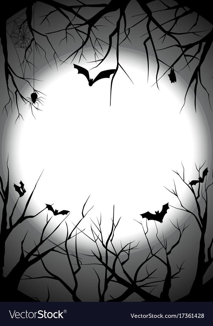 Happy halloween graveyard silhouette background