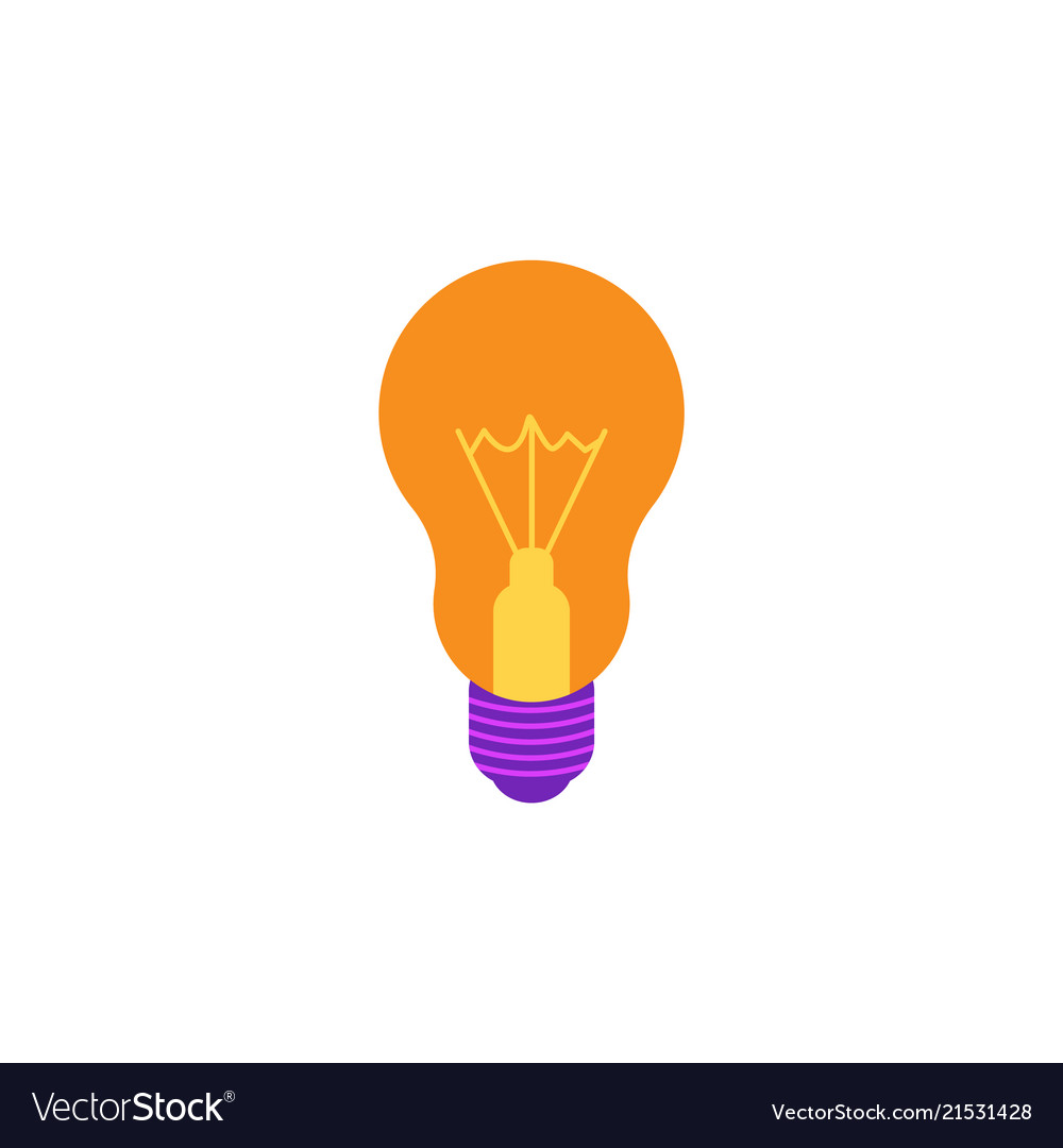 Incandescent light bulb flat icon with yellow