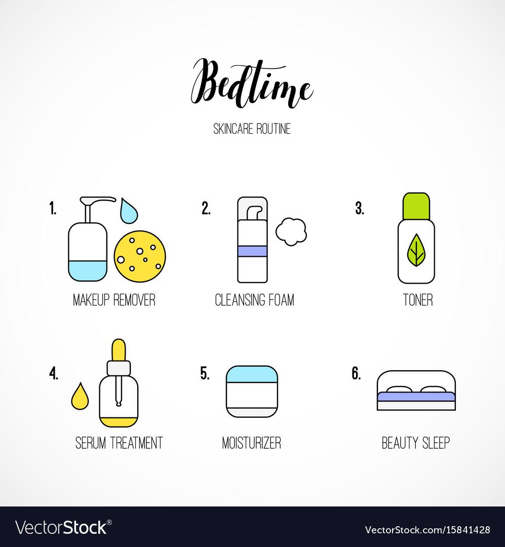 Line art night time skincare routine icons