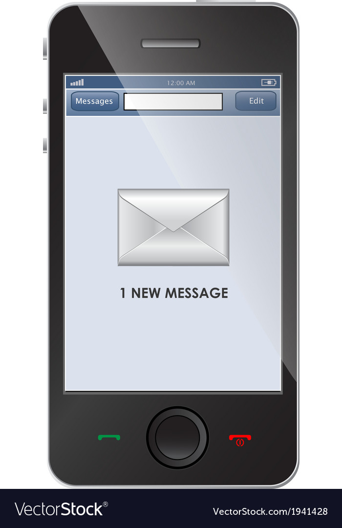 New message icon on smart phone vector image