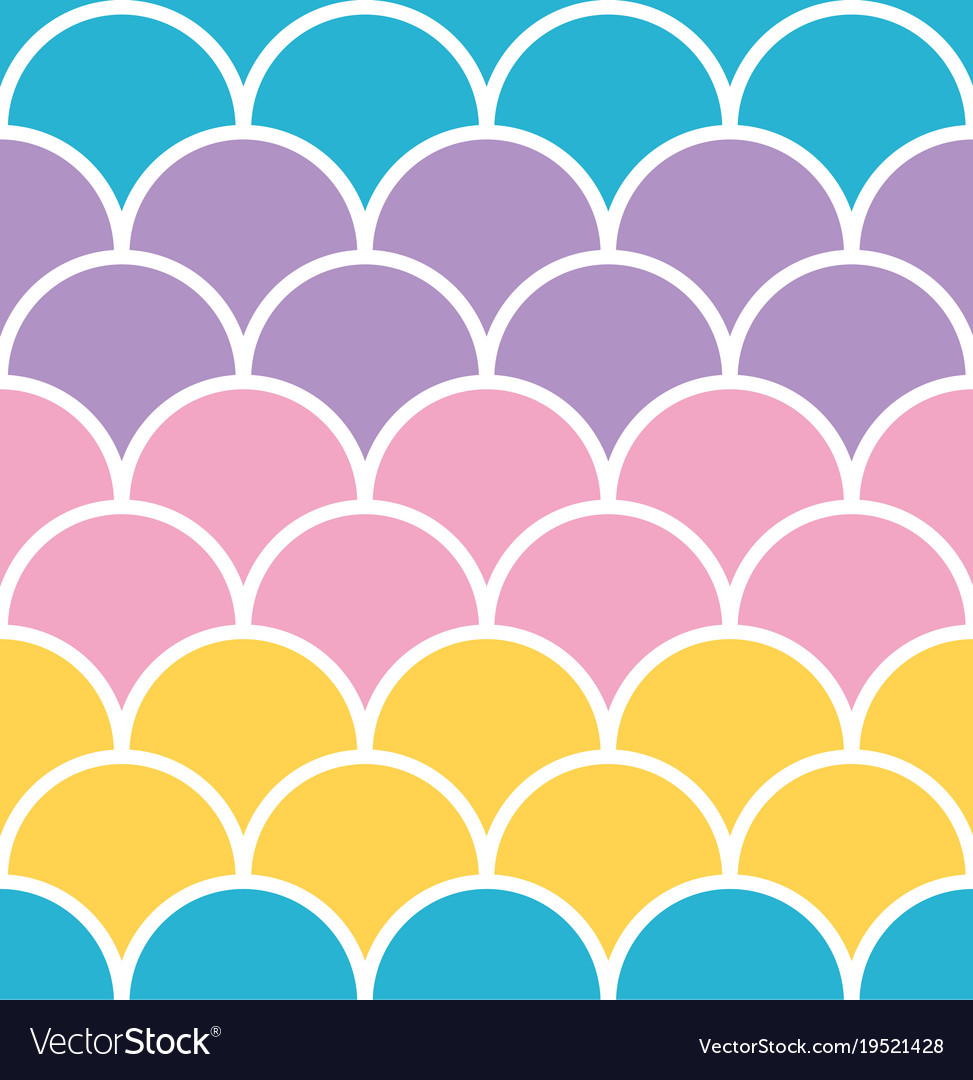 Pastel scale seamless pattern with white outline