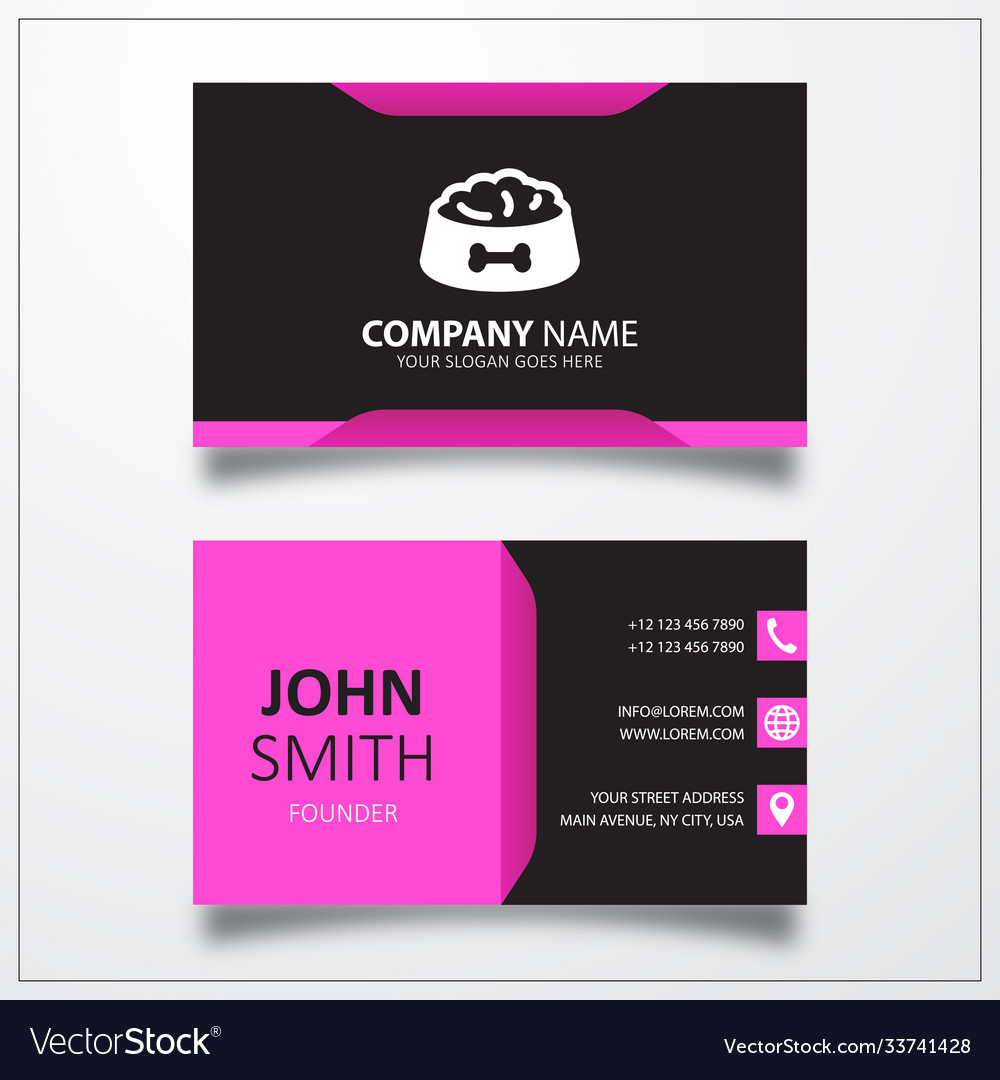 Pet dog feed icon business card template