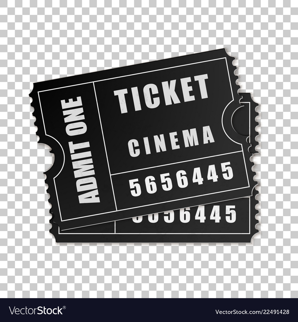 Realistic two black cinema tickets isolated object