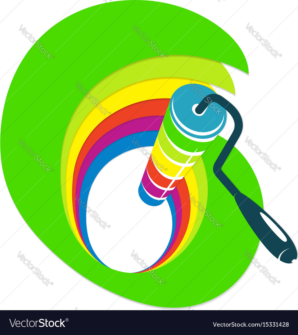 Roller with paint vector image