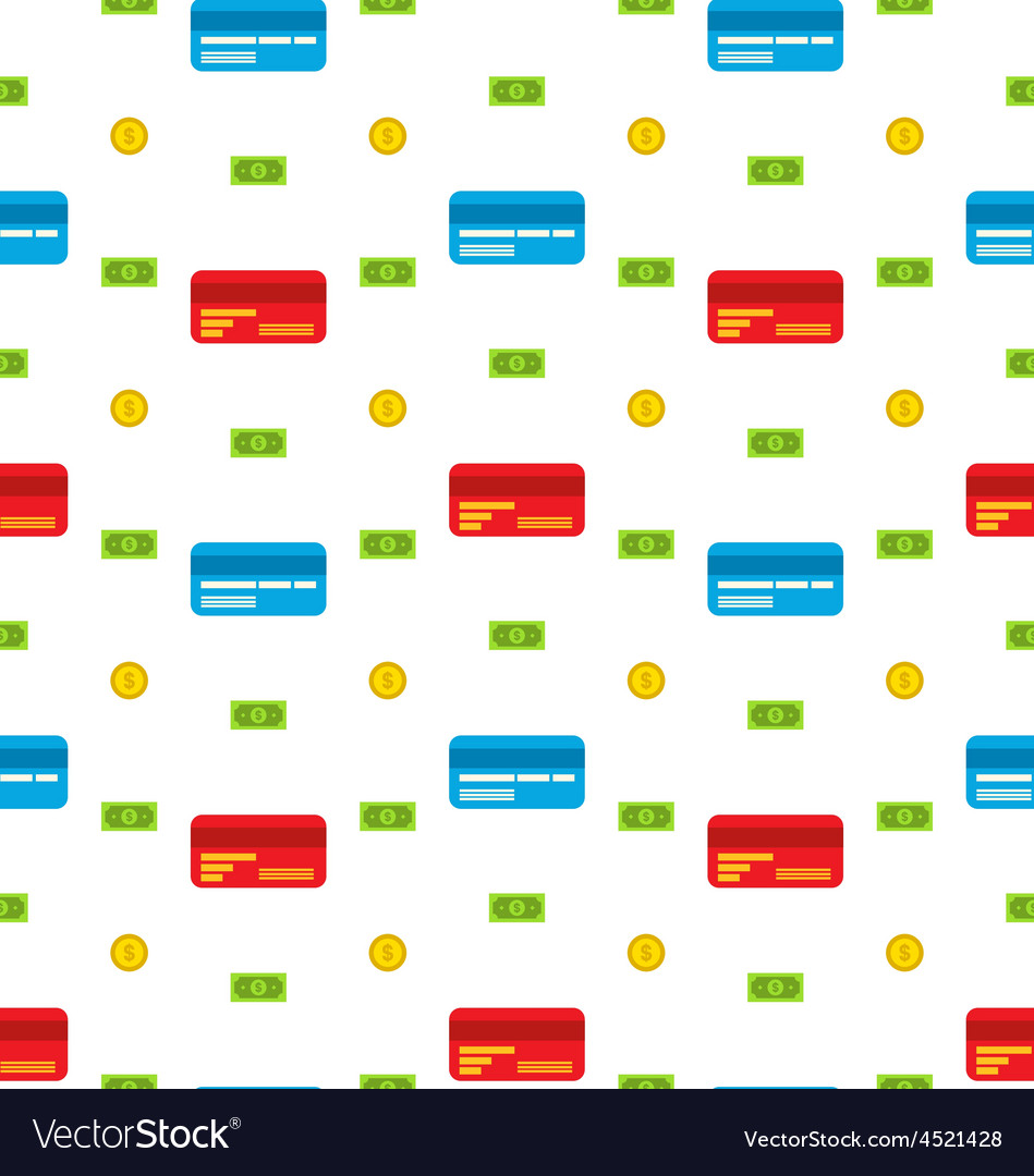 Seamless Pattern with Credit cards Bank Notes
