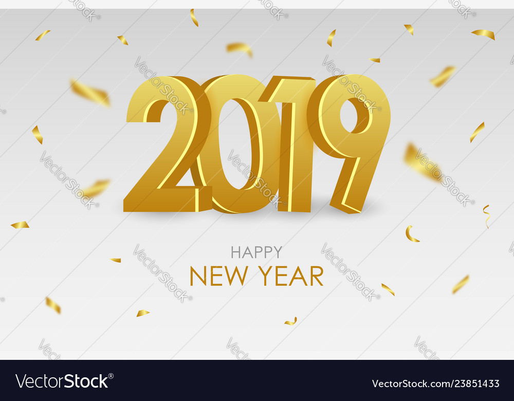 2019 new year card with gold 3d numbers