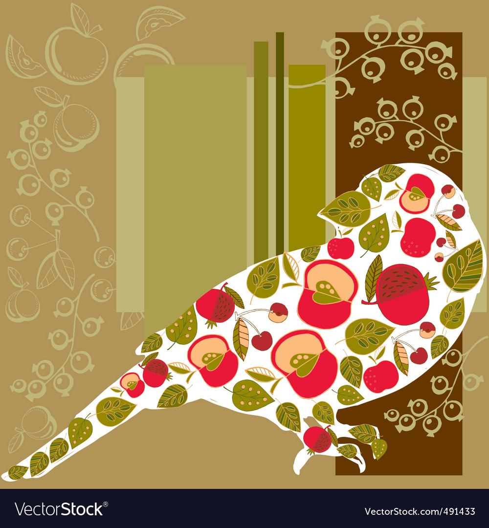 Bird and fruits background vector image