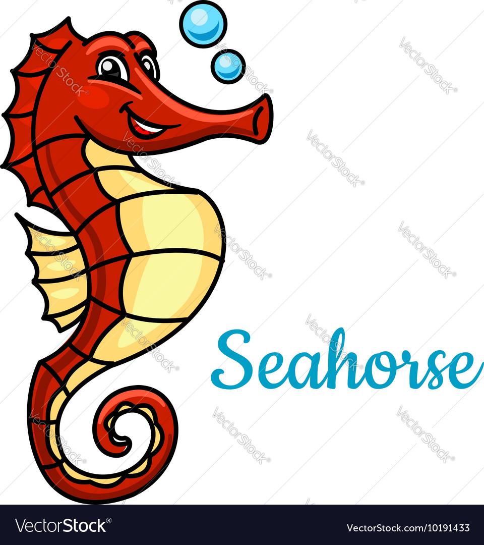Cartoon tropical marine seahorse fish character