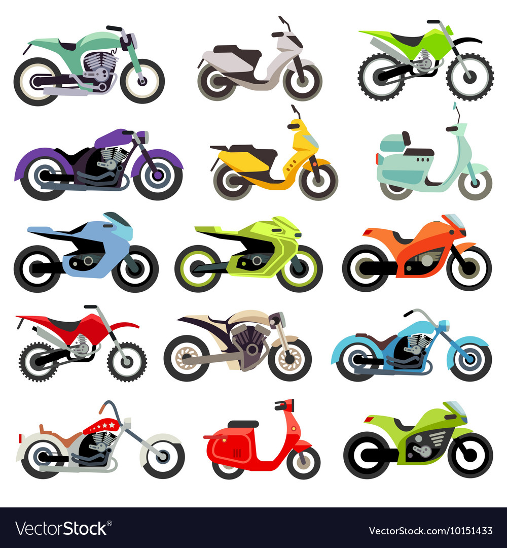 Classic motorcycle motorbike flat icons vector image