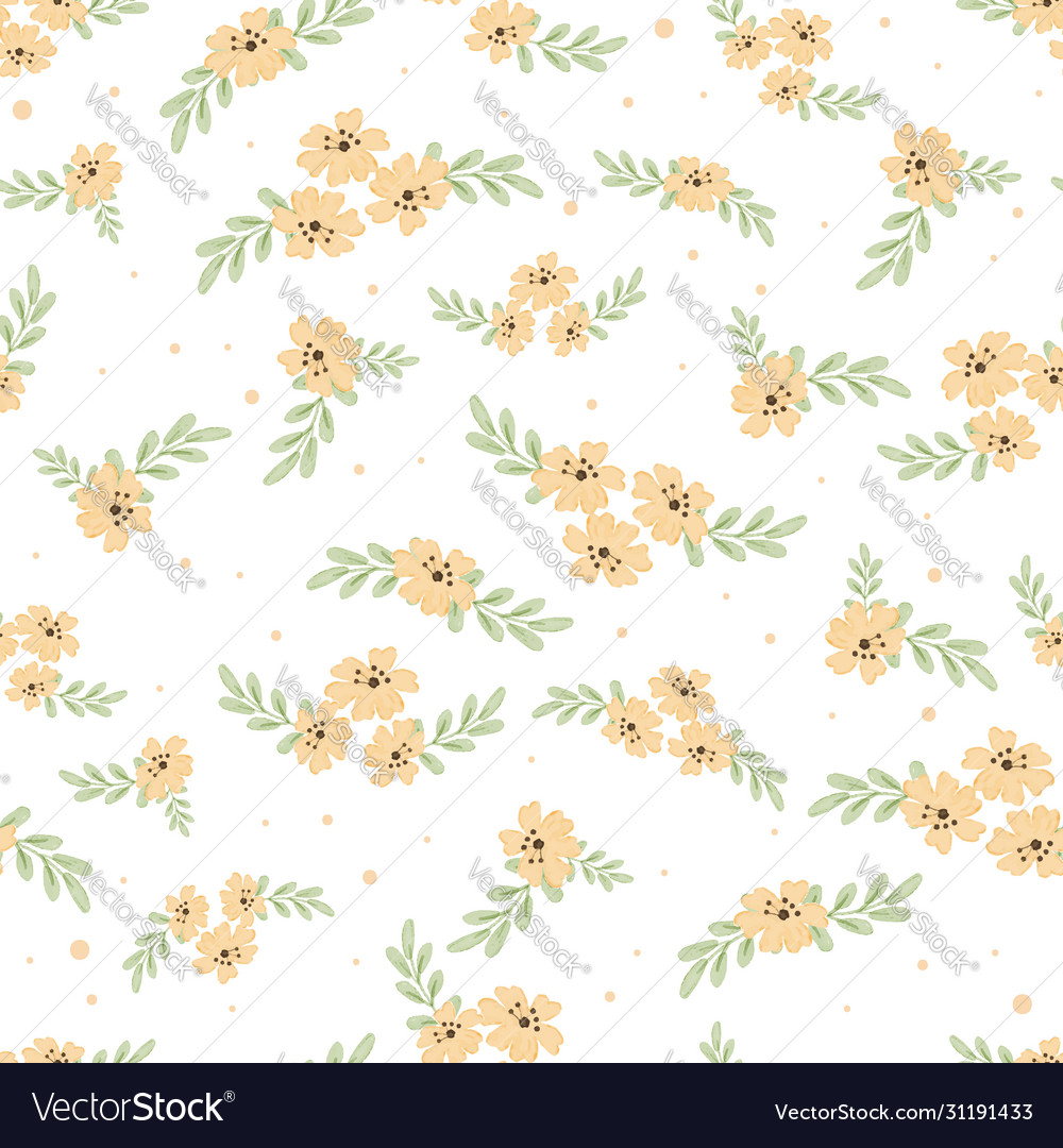 Cute watercolor yellow cosmos flowers seamless