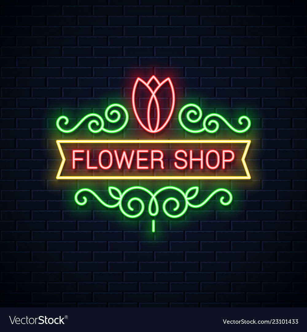Flower shop neon sign flowers store neon tulip on