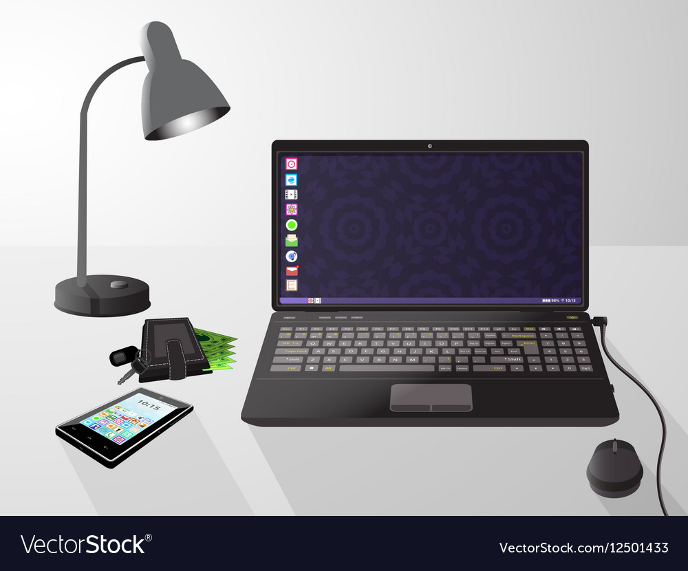 Laptop computer on a gray background vector image