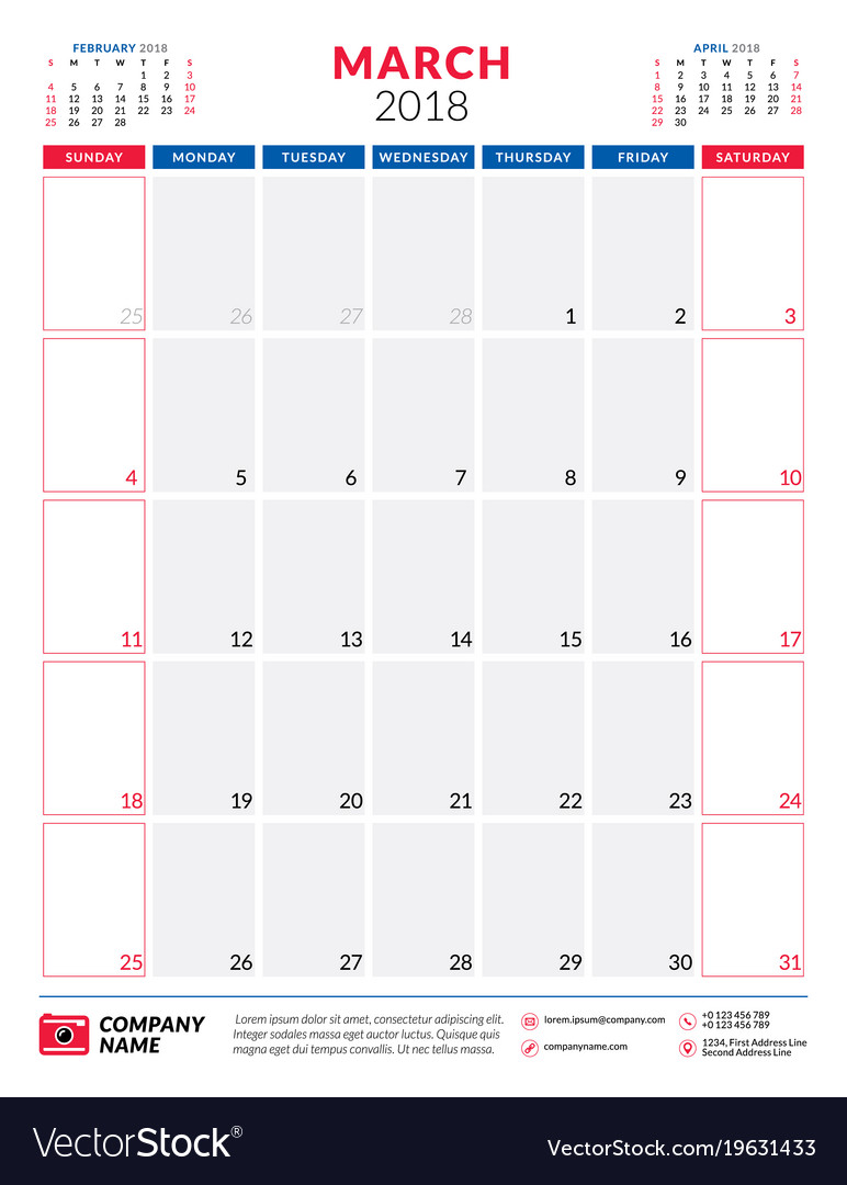 march 2018 calendar planner design template vector image