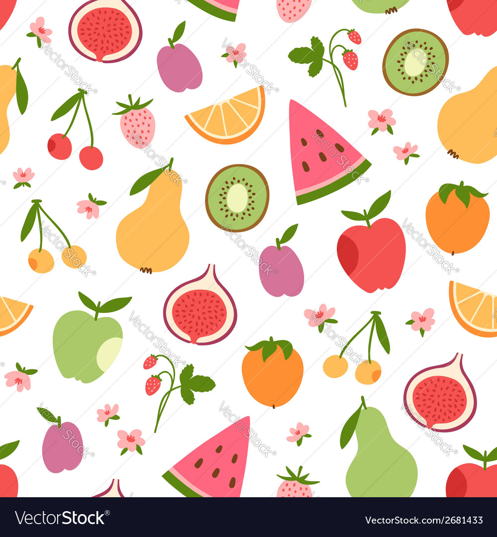 Stylized flat fruits berries and pink flowers vector image mightylinksfo