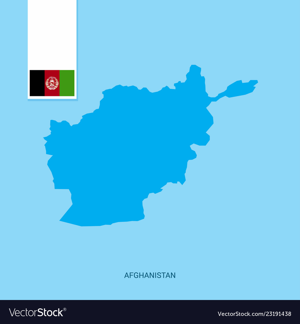 Afghanistan country map with flag over blue Vector Image
