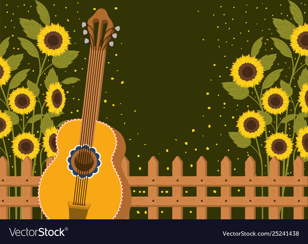 Beautiful Sunflowers Garden With Fence And Guitar Vector Image