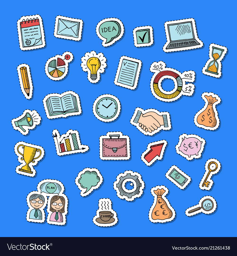 Business doodle icons stickers set