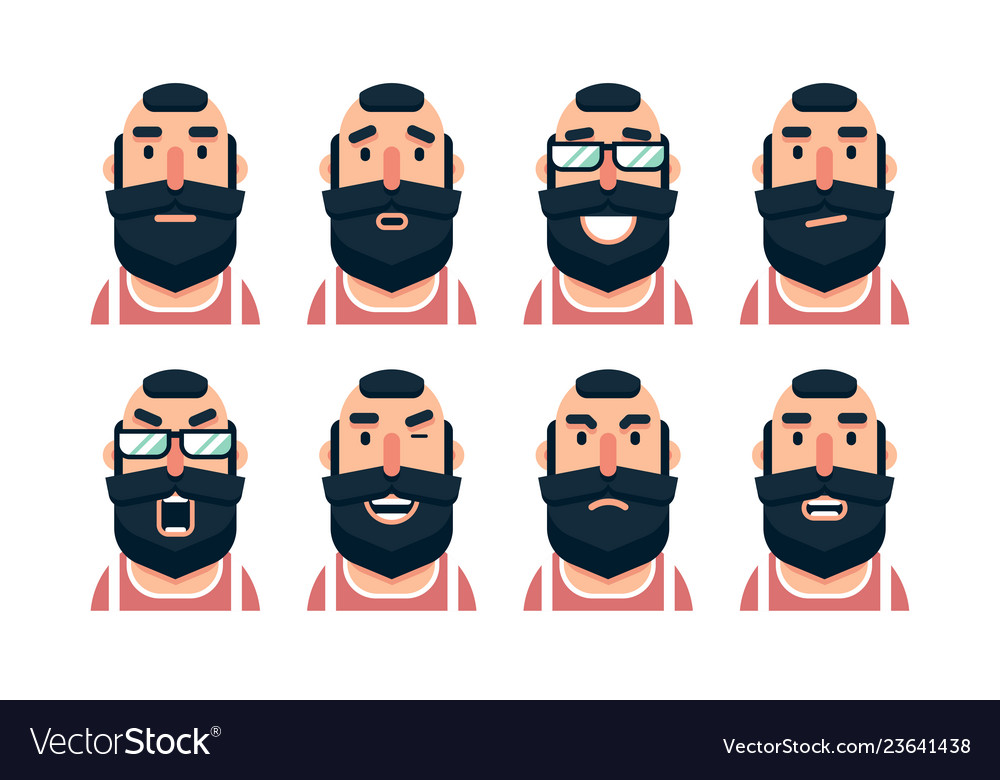Cartoon bearded man character with various facial