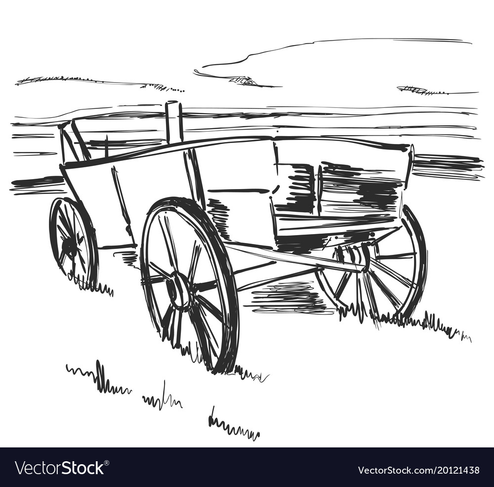 Drawing Old Cart Landscape Sketch Fields And