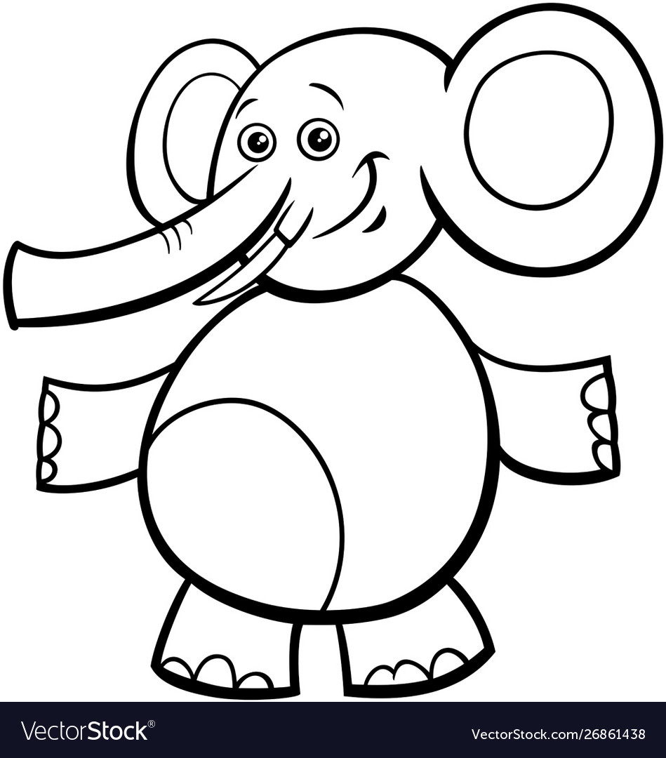 - Funny Elephant Cartoon Character Color Book Vector Image