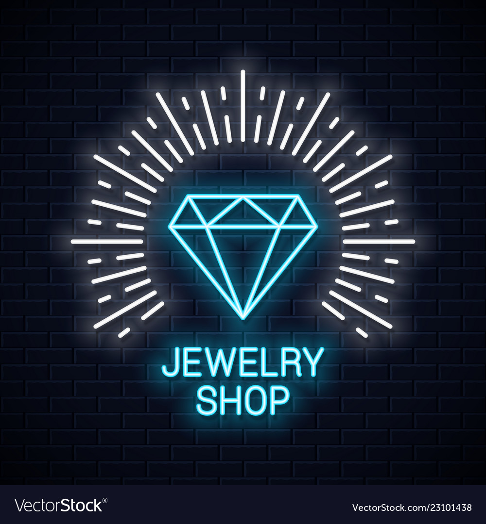 Jewelry shop neon sign diamond icon neon banner