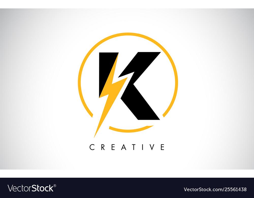 K Letter Logo Design With Lighting Thunder Bolt