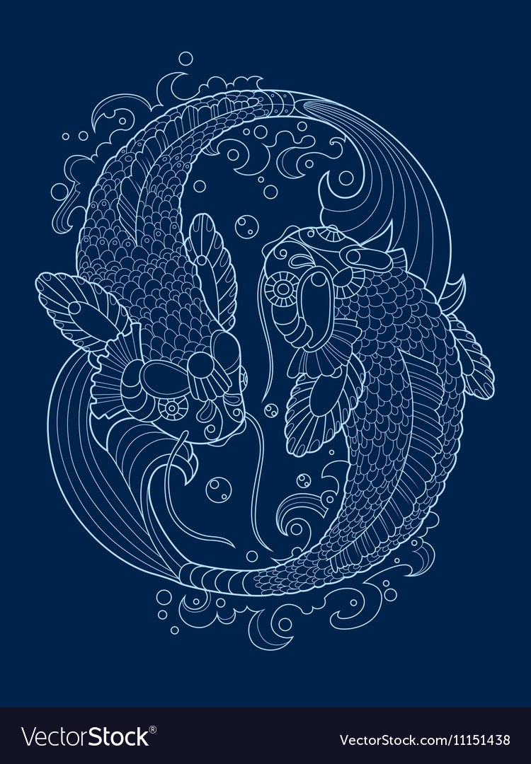 Koi carp tattoo design vector image
