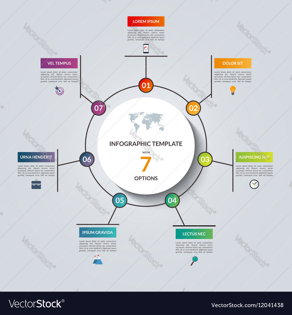 Linear infographic circle template with 7 options vector image