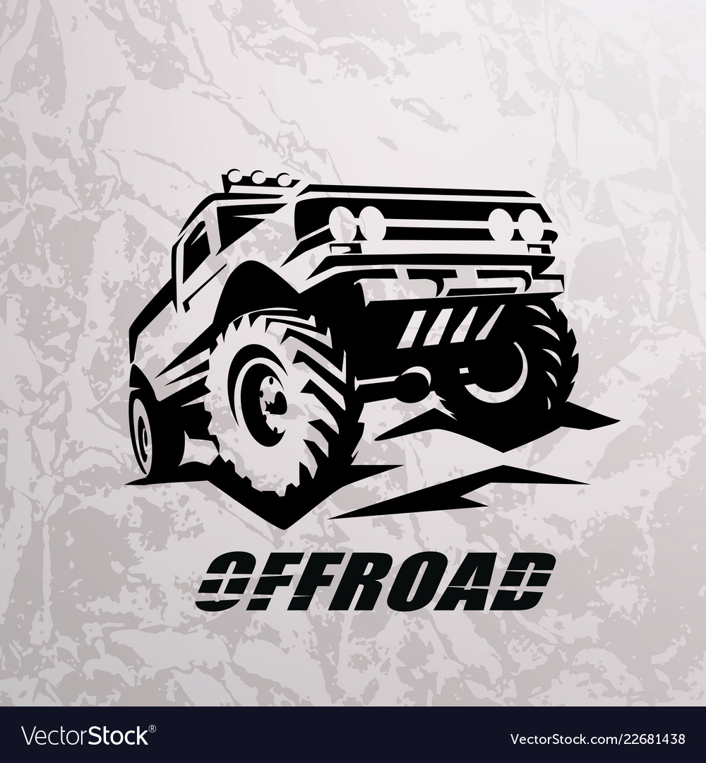 Offroad suv car monochrome template for labels