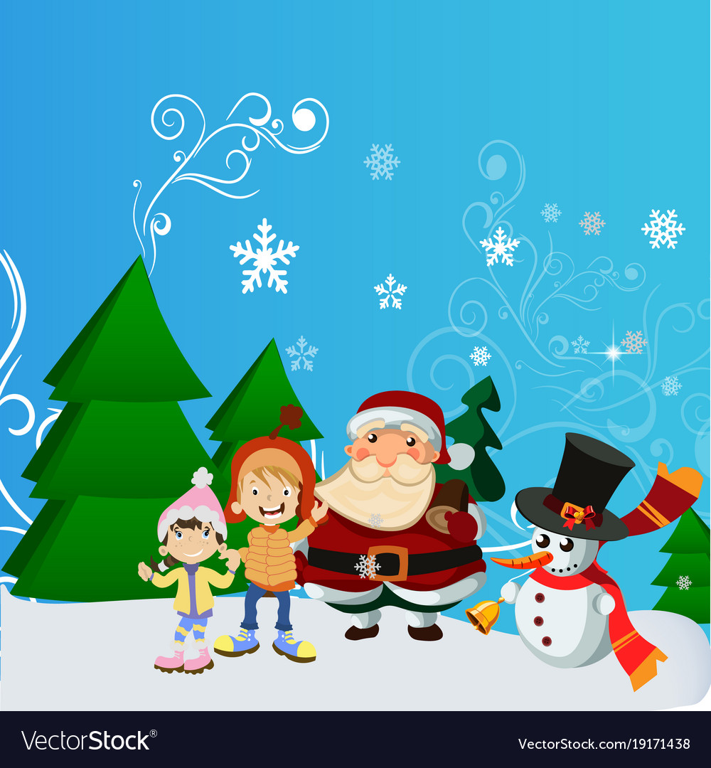 A Christmas Snow.Santa Claus With Kid In Christmas Snow Scene
