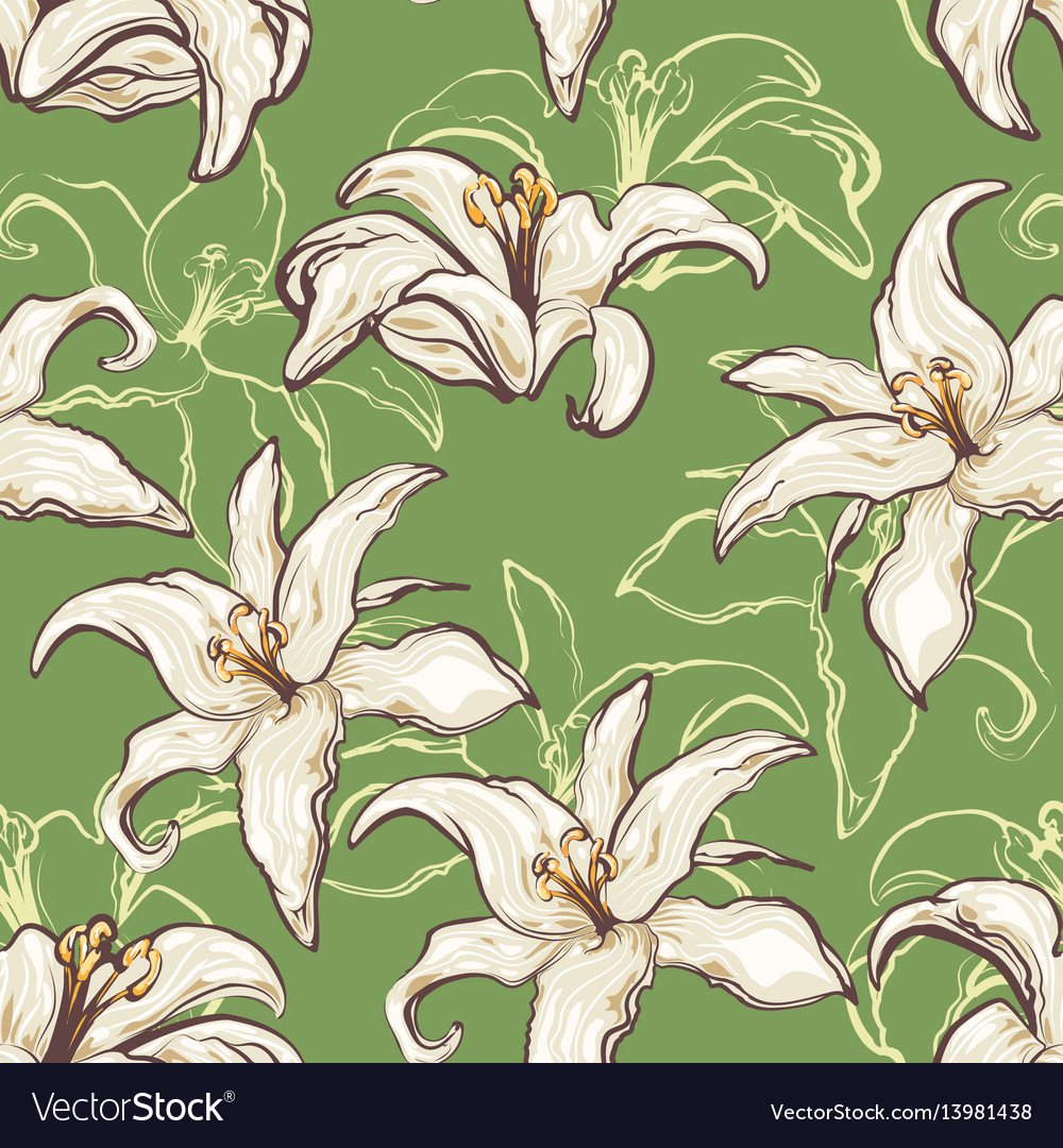 Seamless lilies background