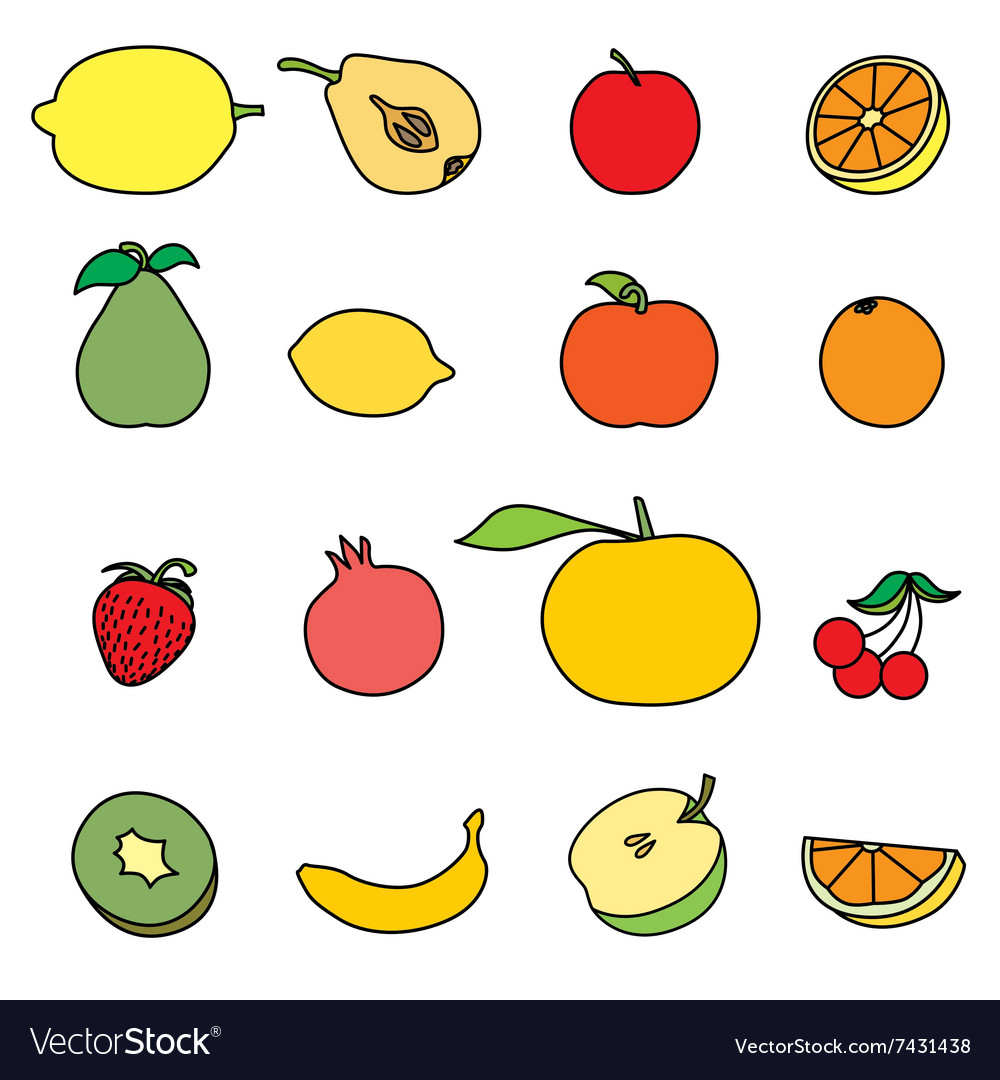 Set of Fruit icon vector image