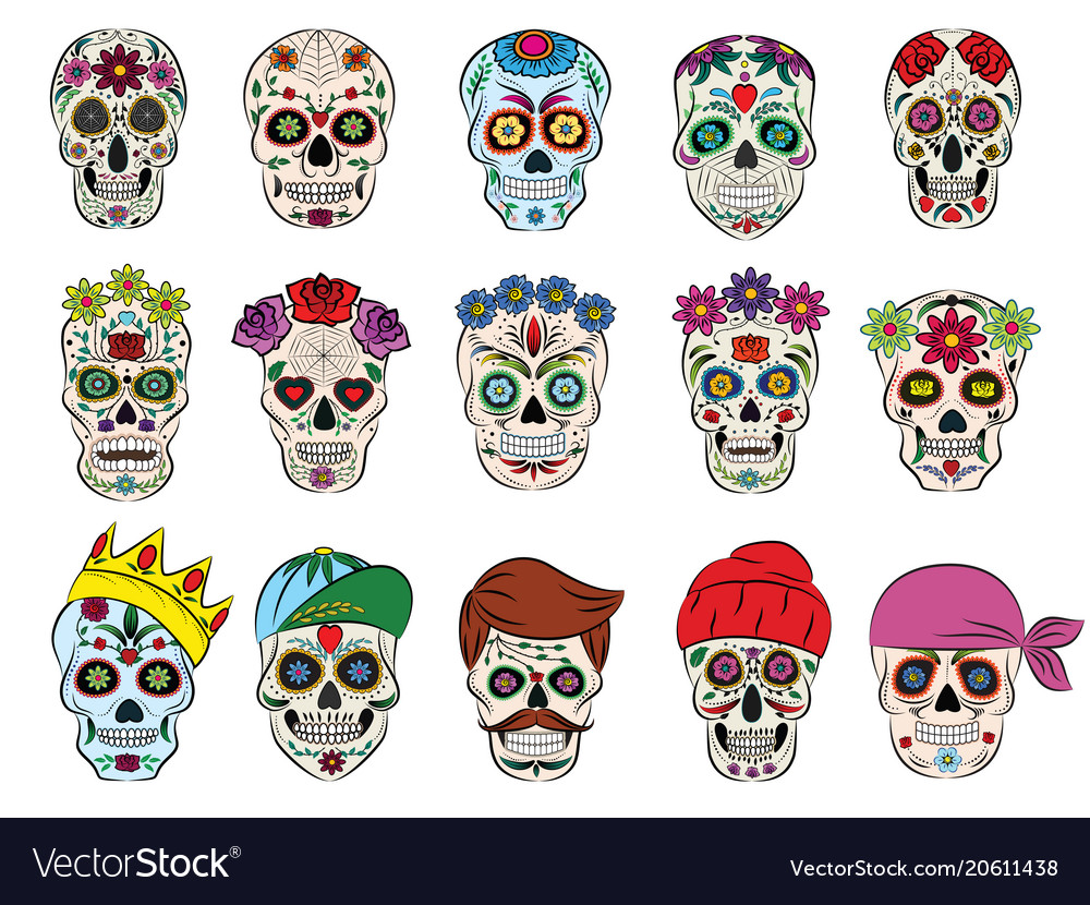 Skull mexican flowered dead head and