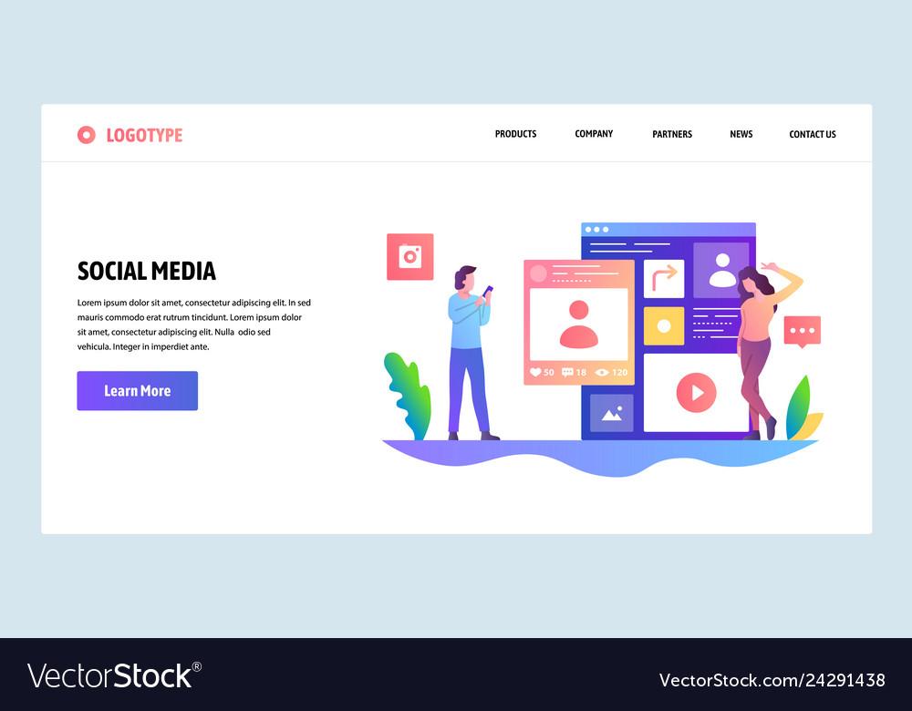 Web site design template social media