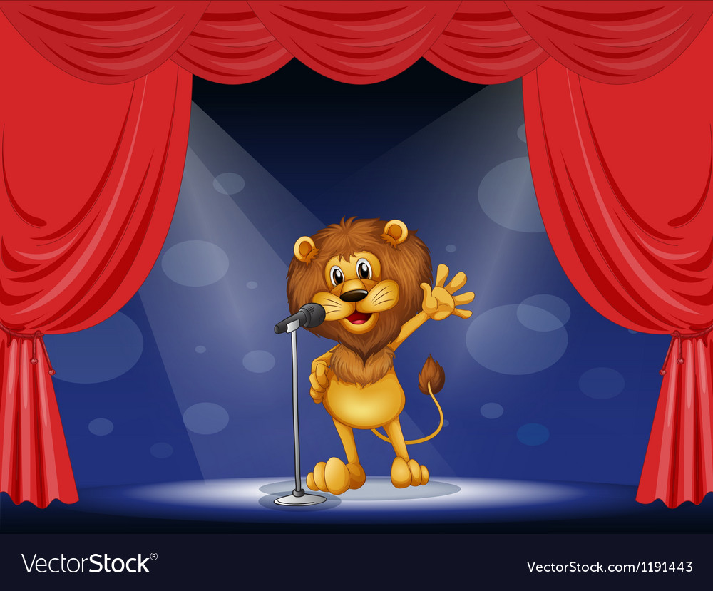 A lion singing at the center of the stage vector image