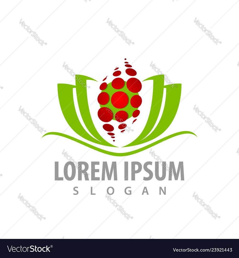 Abstract green lotus flower logo concept design