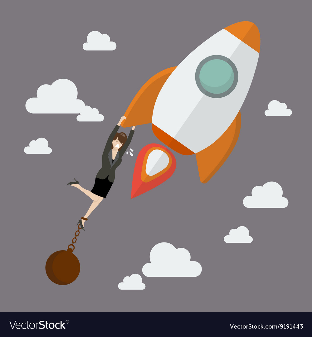 Business woman try hard to hold on a rocket with
