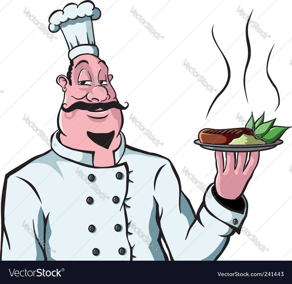Chef with plate of food vector image