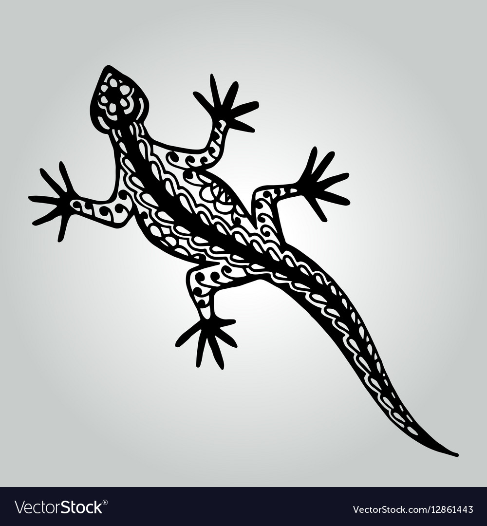 Handdrawing doodle lizard Wildlife collection