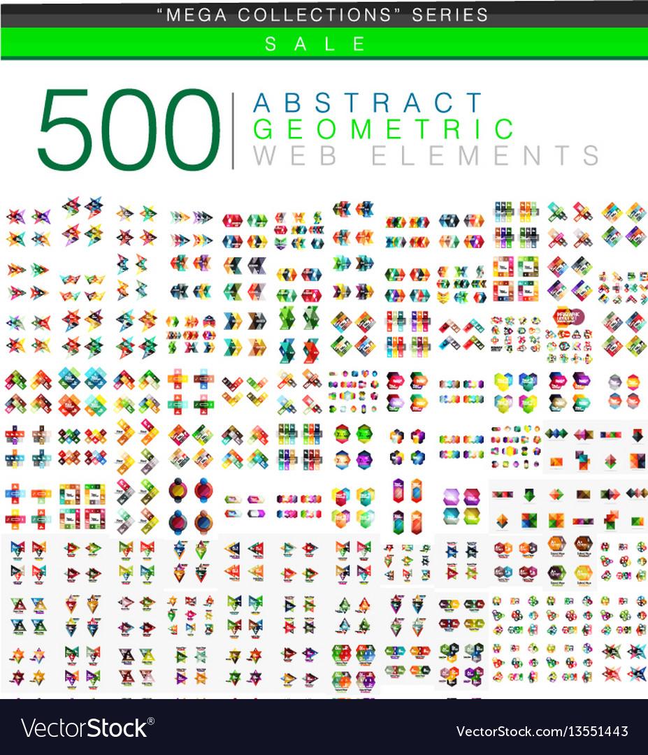 Huge mega set of 500 business paper origami style vector image