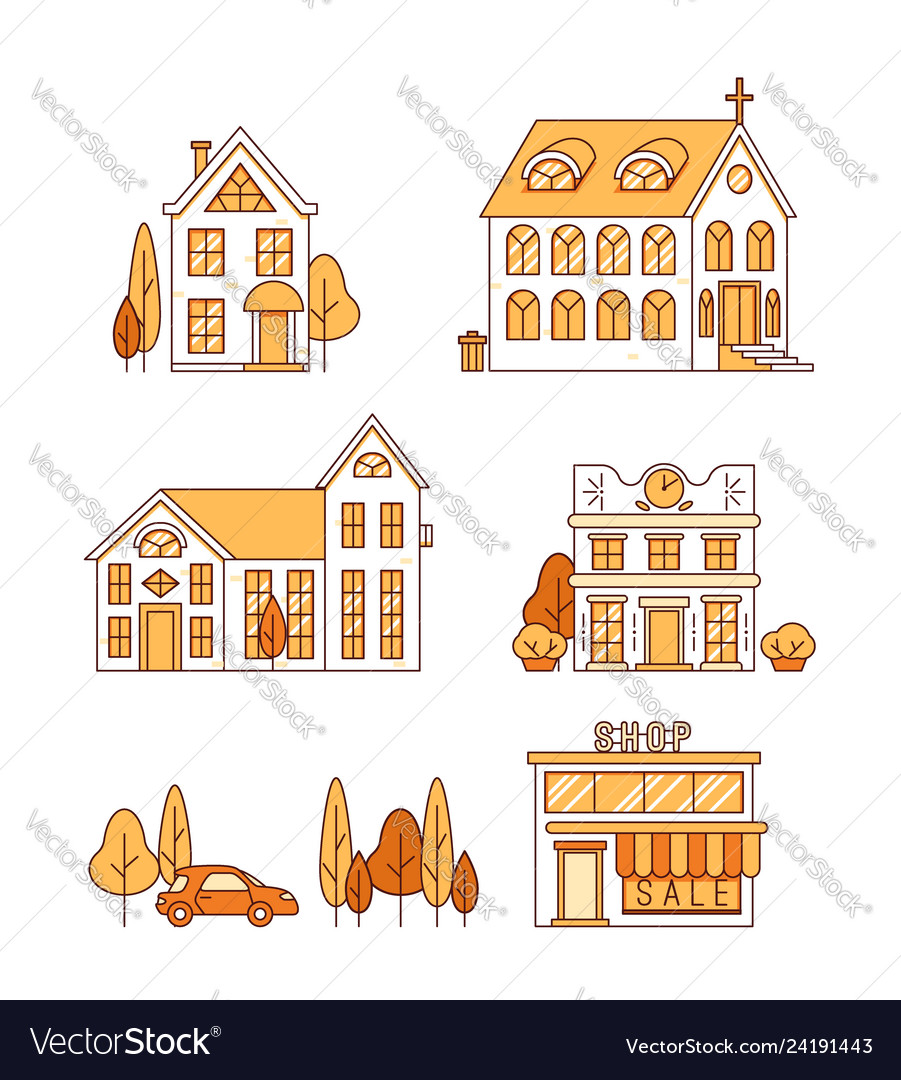 Line art set of houses church and shop
