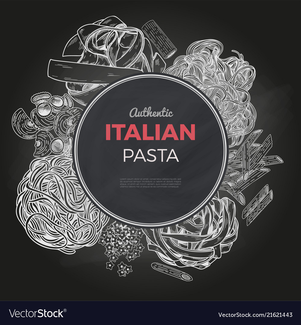 Sketch pasta banner hand drawn