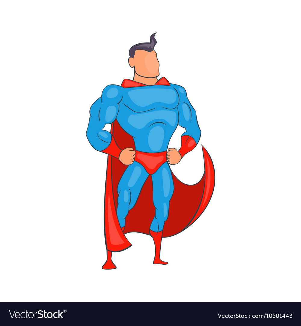 Standing Superhero in red cape icon cartoon style