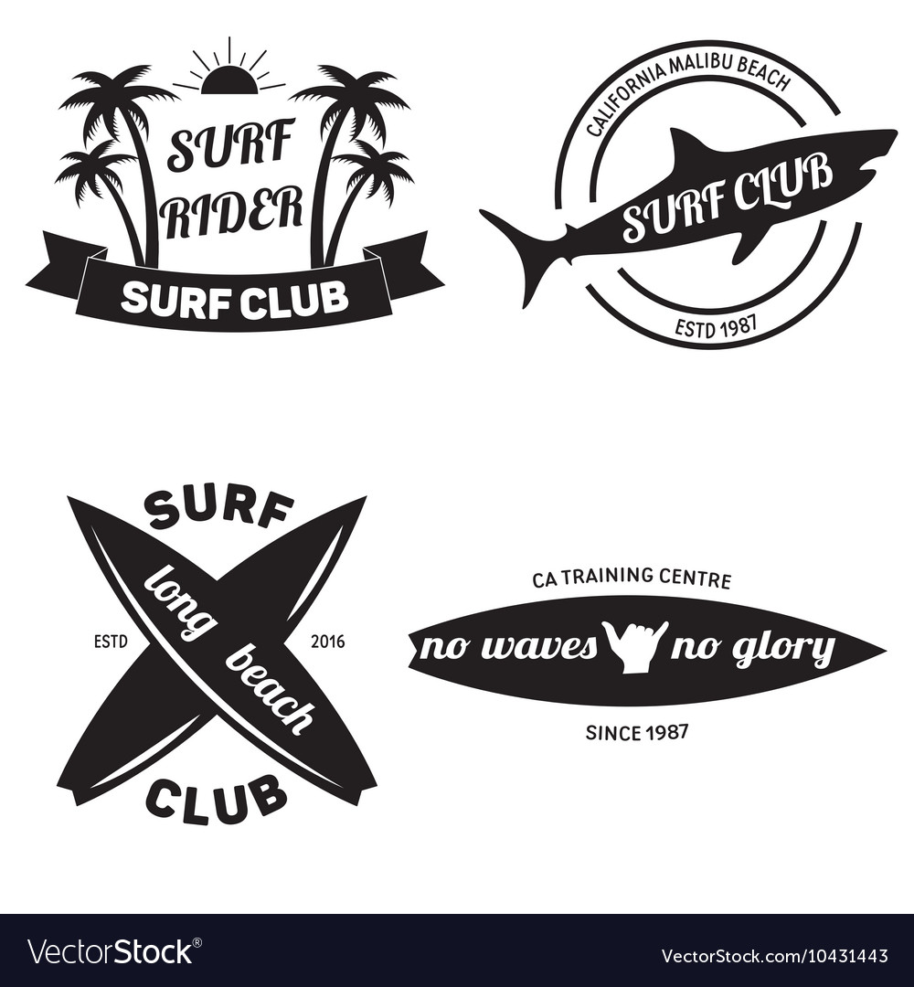 Surfing related labels set vintage