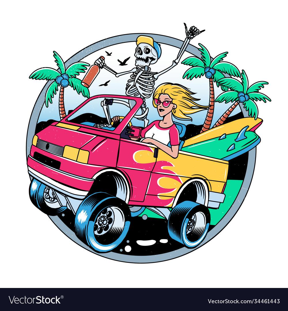 Surfing t-shirt designs surf van