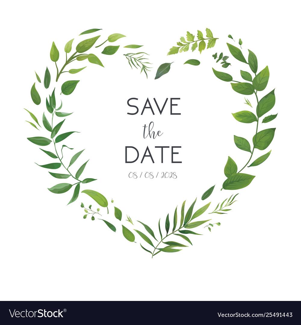 Wedding Floral Green Invite Invitation Card Design