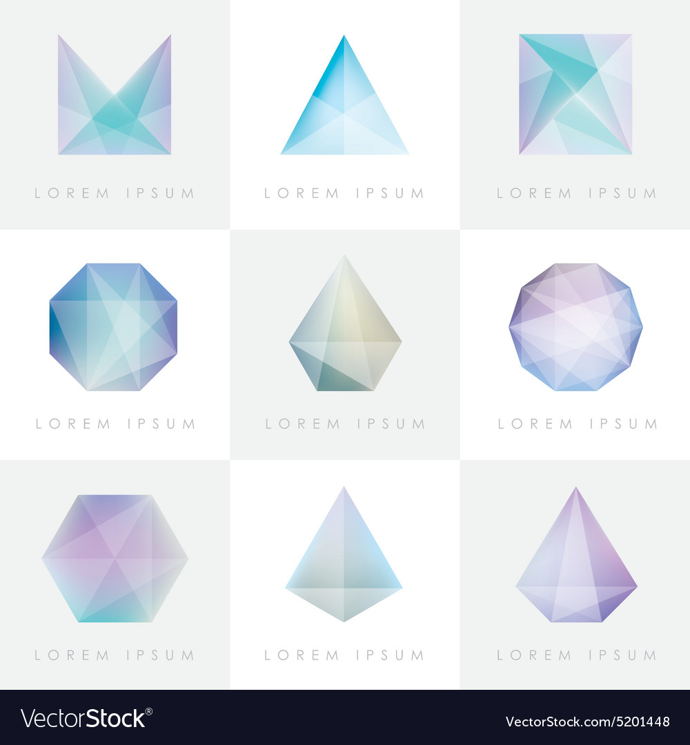 3d origami low polygon shapes vector image