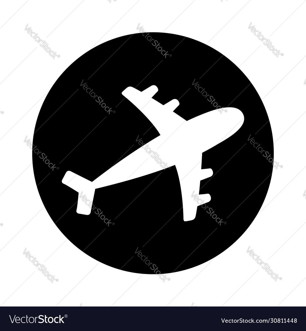Air plane round icon black silhouette shape