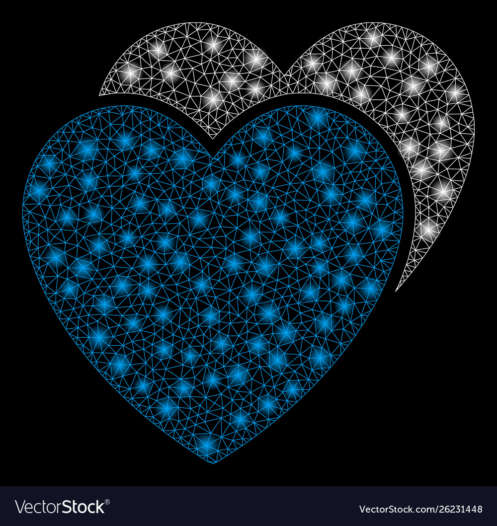 Bright mesh 2d love hearts with light spots
