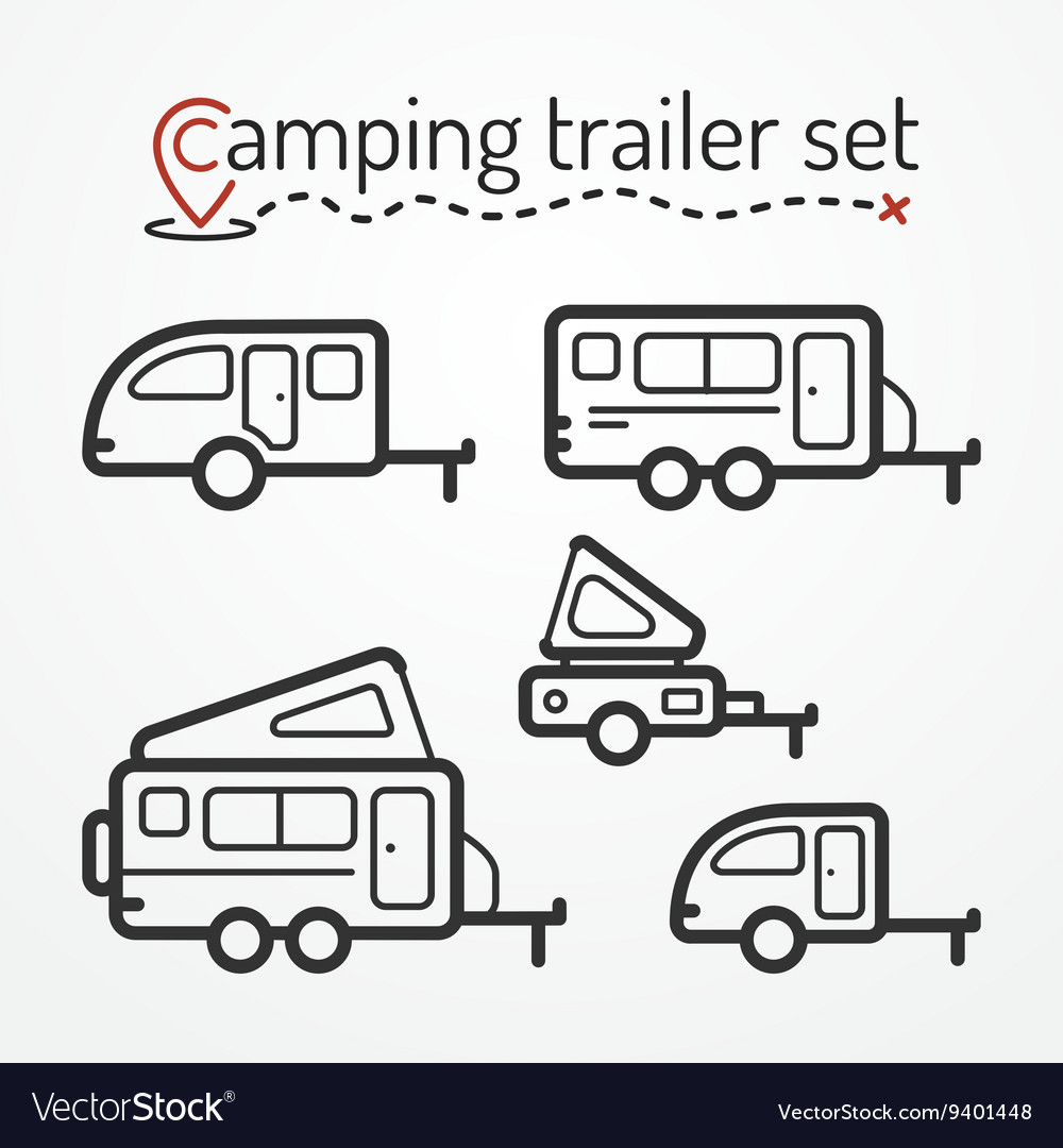 Camping trailer set vector image